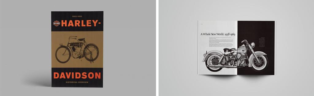 할리데이비슨 90주년 기념 책자 디자인. 출처: segura-inc.com